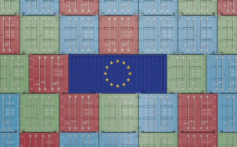 Shipping containers with EU flag