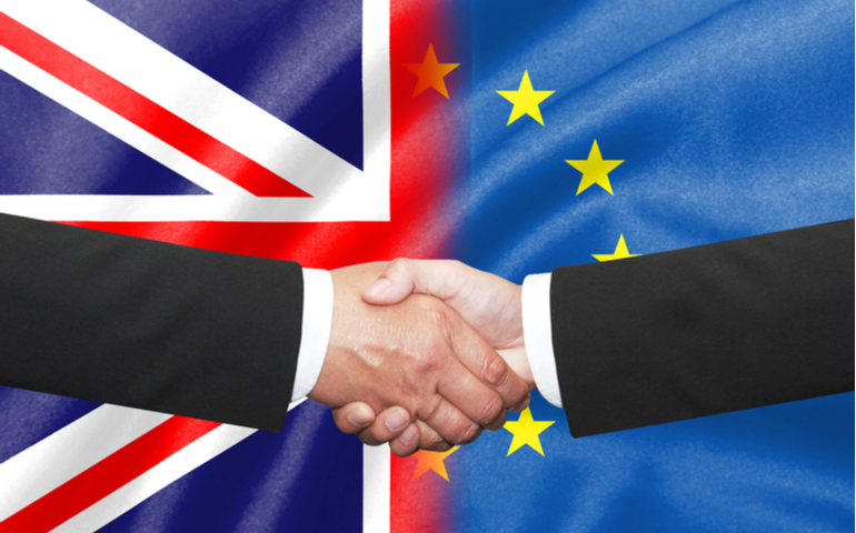 UK and EU leaders shaking hands