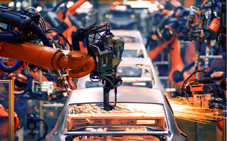Cars being produced on UK production line