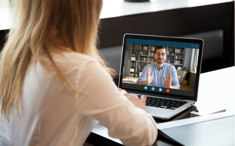 Recruiter holding interview online with potential employee